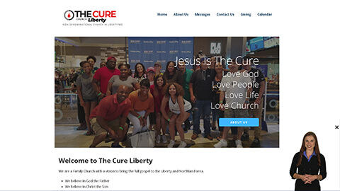 Website Spokesperson Example - The Cure Church-Liberty