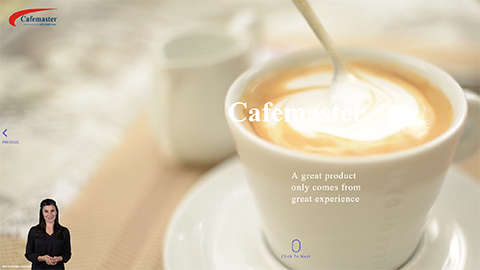 Walkon Spokesperson Example - 'Cafemaster'