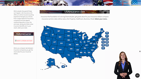 Website Spokesperson Example - USA Insurance